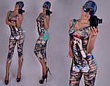 Гламурный летний женский костюм из микромасла разм 42,44,46 про-во Турция, фото 2