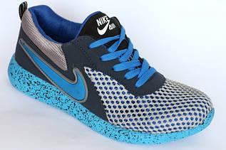 Кроссовки Max Nike-сетка  серый - синий  подростковые