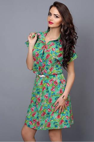 Летнее шифоновое платье зеленое с цветами , фото 2
