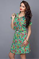 Летнее шифоновое платье зеленое с цветами