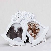 Свадебная фоторамка белого цвета в виде колокольчиков