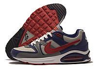 Кроссовки мужские Nike Air Max серые с синим, красный значок (найк аир макс)