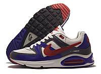Кроссовки мужские Nike Air Max белые с синим и серым, красный значок (найк аир макс)