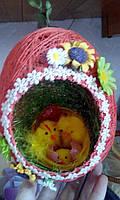 """Пасхальный подвесной декор """"Гнездышко в цветочках"""", бол."""