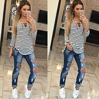 Женская стильная полосатая кофта со шнуровкой