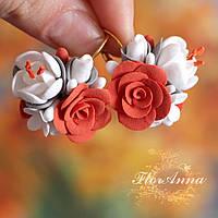 """""""Оранжевый блюз"""" авторские серьги с цветами ручной работы из полимерной глины, фото 1"""
