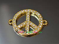 Знак Мир 25*32мм, золото