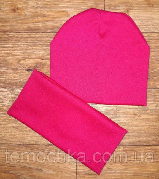 Детская шапочка + хомут. Розовая