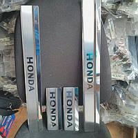 Накладки на пороги на Хонда Цивик с 06-12 хечбек (нерж.) 4-штуки OMCARLINE.
