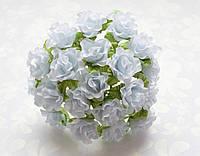 Розы Белые на проволоке 2 см диаметр Декоративный букетик 10 шт/уп