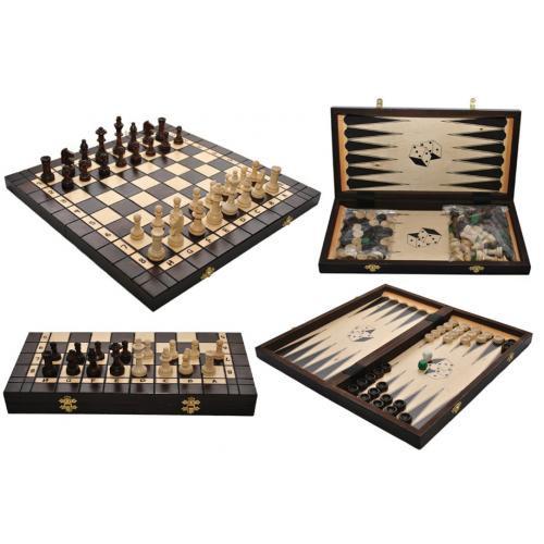 Шахматы 3180 +нарды , коричневые 35x17.5x4.5см (король-70мм)