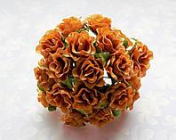 Розы Оранжевые 2 см диаметр Декоративный букетик 10 шт/уп