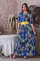 Длинное платье в пол с широким атласным поясом