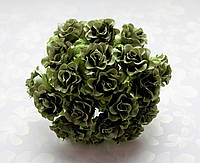 Розы Оливковые 2 см диаметр Декоративный букетик 10 шт/уп