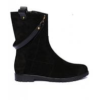 Замшевые ботинки с подвеской из натуральной кожи.