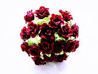 Розы Бордовые 2 см диаметр Декоративный букетик 10 шт/уп