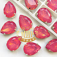 Cтразы в цапах. Капля. Размер 13x18.Цвет Rose Opal