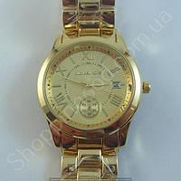 Часы Michael Kors MK-1134 (250905) мужские золотистые на стальном браслете с календарем римские цифры