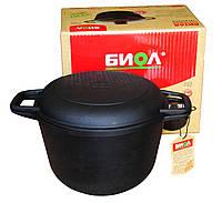 Казан (кастрюля) ЧУГУННЫЙ  Биол с литой крышкой-сковородой на 3 л, 4л, 6 л