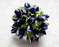 Подснежники Сине-белые 1.5 см диаметр Декоративный букетик 10 шт/уп