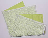 Ажурный вязанный плед на трикотаже, зеленый