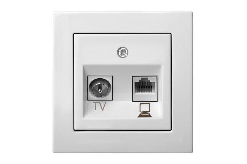 Розетка TV+компьютерная розетка, белый цвет, Epsilon
