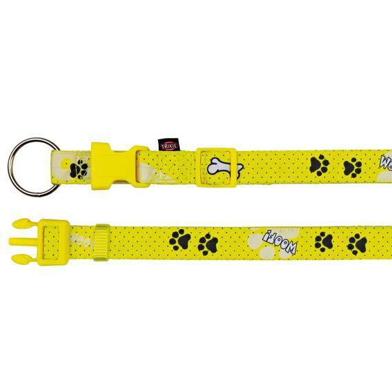 "Ошейник для собаки Trixie (Трикси) ""Modern Art Woof"" нейлон, желтый, 35-55 см/20 мм"