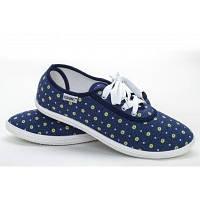 Мокасины женские синие на шнурках