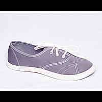 Мокасины женские на шнурках серые