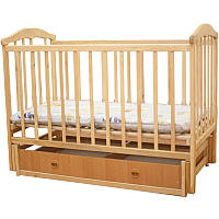 Детская кроватка-маятник с ящиком для белья и возможностью качания натуральная ольха