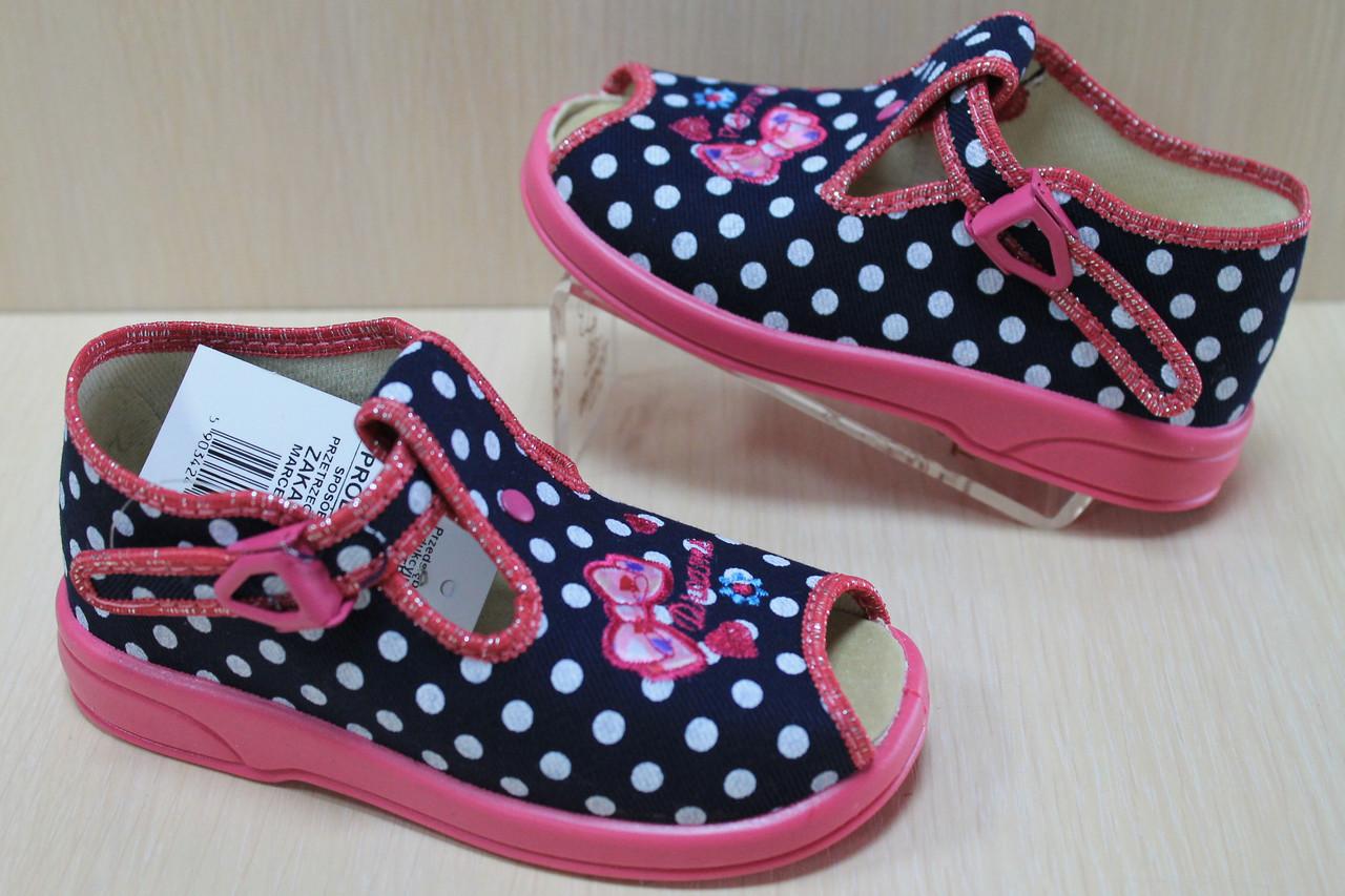 da3eca5acf95 Летние тапочки на девочку, польская текстильная обувь тм Zetpol Зетпол р.19  - Style