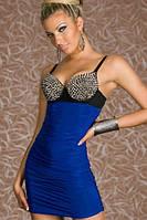 Распродажа остатков о цене закупки. Синее платье с декором из шипов L2680-2