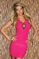 Полная распродажа. Платье цвета фуксии декорировано брошью L2696-1