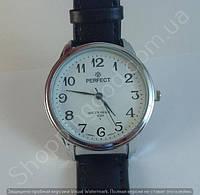 Часы Perfect 9492088 (113875) мужские серебристые на белом циферблате с черным ремешком копия, фото 1