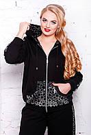 Спортивный костюм из качественного трикотажа двойного плетения, с паетками, большого размера 56-62