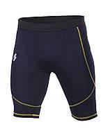 Компрессионные шорты мужские темно синие (желтый шов)