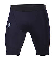 Компрессионные мужские шорты темно синие (черный шов)