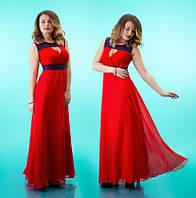 Платье ПОЛУБАТАЛ с кружевом и шифоновой юбкой красное