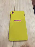 Чехол пластик с вырезом для Lenovo S850, желтый
