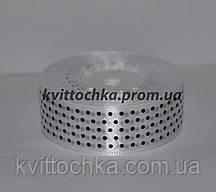 Атласная лента в горошек 2,5 см (23 м), цвет - белый