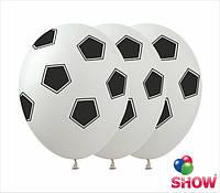 """Надувные шарики футбольный мяч белый 12"""" (30 см)  ТМ Show"""
