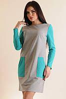 Комфортное демисезонное платье в спортивном стиле полуприлегающего силуэта с карманами, 42-52 размеры