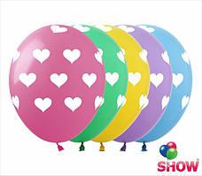 """Латексные воздушные шарики сердца - горошек 12"""" (30 см)  ТМ Show"""
