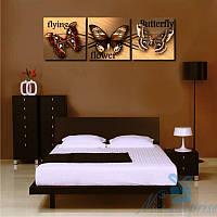 Модульная картина Триптих Бабочки из 3 модулей (140х45), фото 1