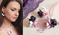 """""""Эйфория""""(серьги+кулон) авторский комплект украшений с цветами из полимерной глины, фото 1"""