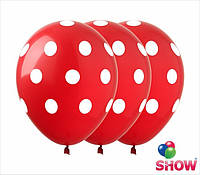 """Латексные воздушные шарики горох на красном 12"""" (30 см)  ТМ Show"""
