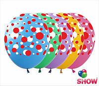 """Латексные воздушные шарики цветной горошек 12"""" (30 см)  ТМ Show"""