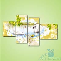 Модульная картина Белые лебеди на озере из 4 фрагментов