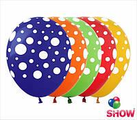 """Латексные воздушные шарики горошек 12"""" (30 см)  ТМ Show"""
