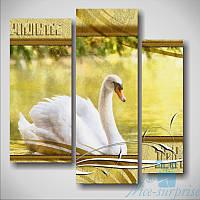 Модульная картина Белый лебедь из 3 фрагментов, фото 1